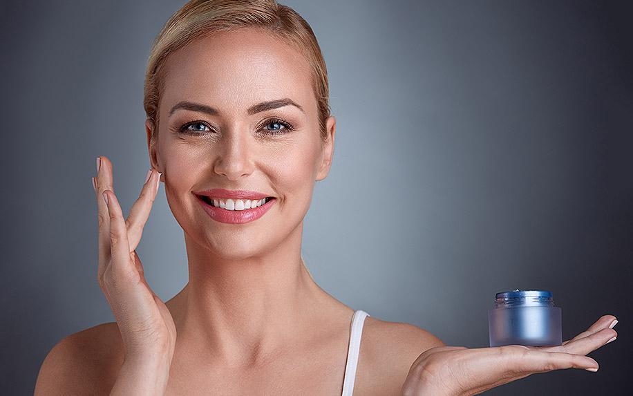 Anti aging CBD cream used on skin