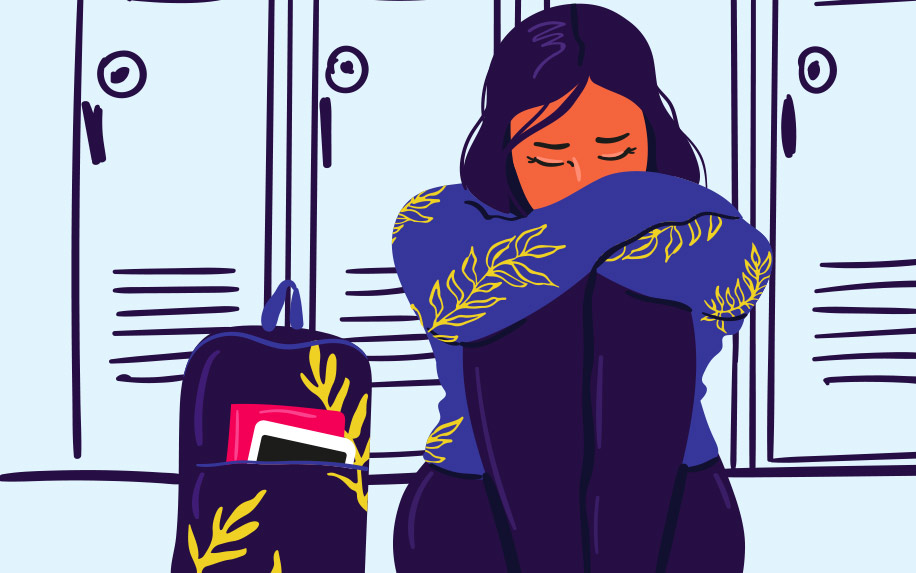 Illustration of a girl in school sitting beside her school bag