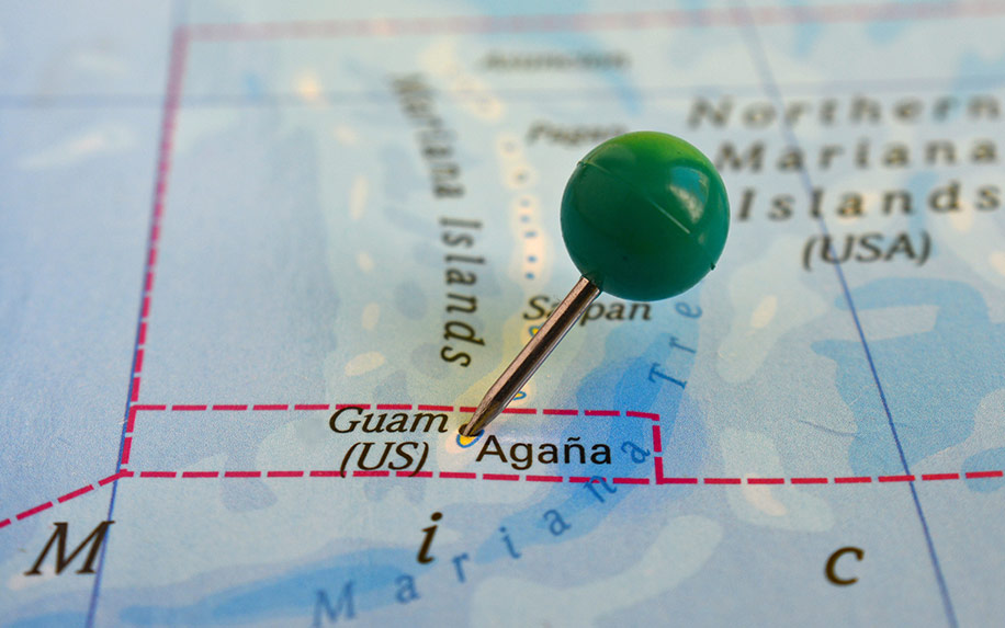 Guam's location on a map