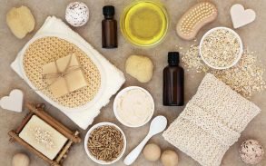 Flat lay image of many hemp derived beauty products
