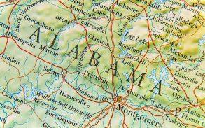 Geographic map of Alabama.