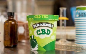 A promo image of Ben and Jerry's CBD ice cream.