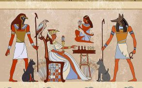 Murals ancient Egypt scene mythology