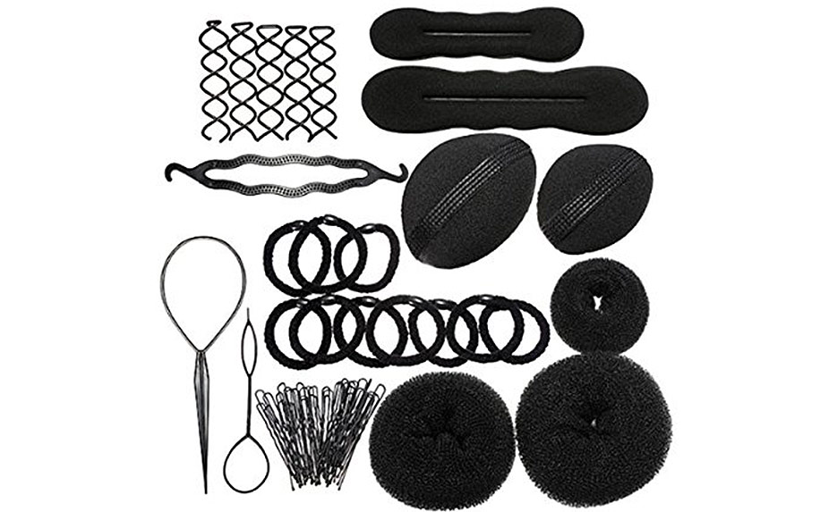 a view of different hair styling accessories colored in black.