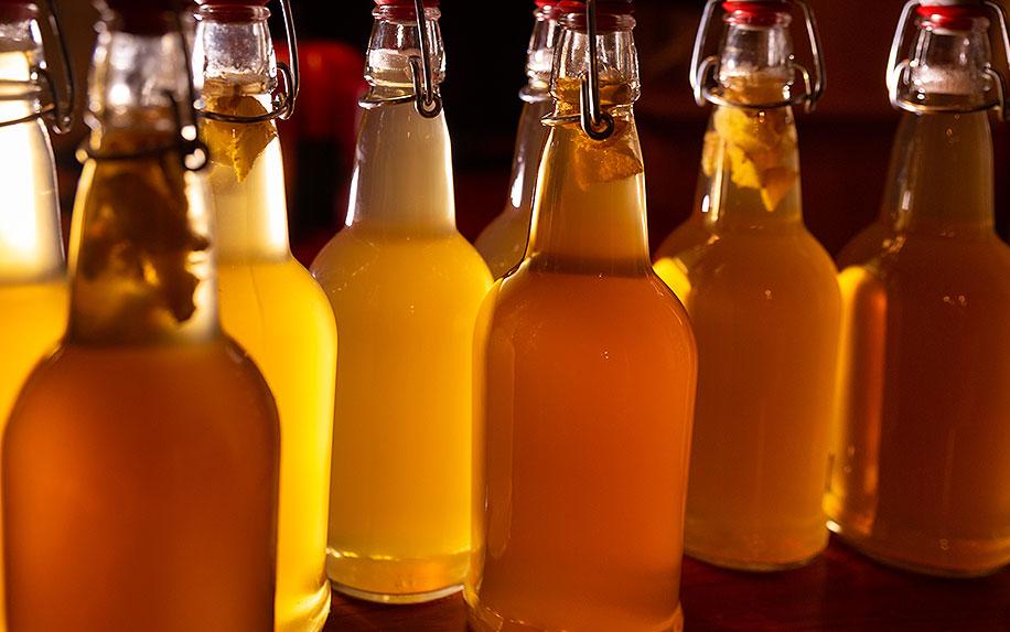 Bottles of Kombucha with CBD