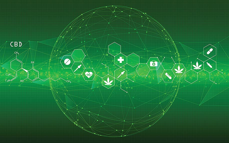 Abstract polygonal space low poly earth wave beam with connecting dots and lines. Cardio cannabis medical green background design.