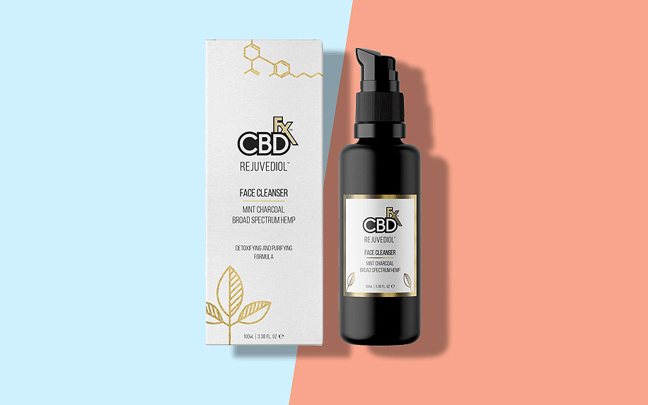 CBDfx CBD oil product used for face cleansing.