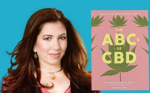 Shia Adler author of ABCs of CBD pictured with her book.