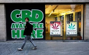 Exterior view of shop with Cannabidiol (CBD) products.