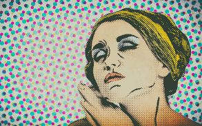 Pop art comic style woman, vintage poster