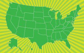 Map of US on burst background.